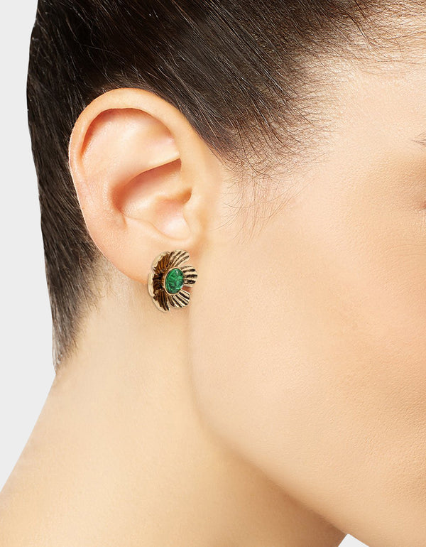 TORTIFLY FLOWER STUD EARRINGS GREEN - JEWELRY - Betsey Johnson