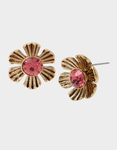 TORTIFLY FLOWER STUD EARRINGS PINK