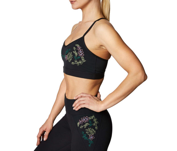 TROPIC EMBROIDERY BRA BLACK - APPAREL - Betsey Johnson