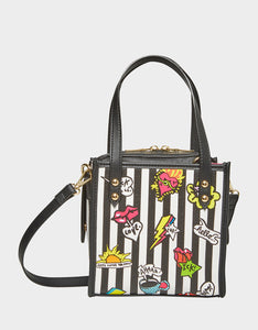 TWO IN ONE BETSEY ICONS SMALL TOTE BLACK-WHITE