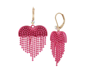 UNBREAK MY HEART FRINGE EARRINGS PINK MULTI