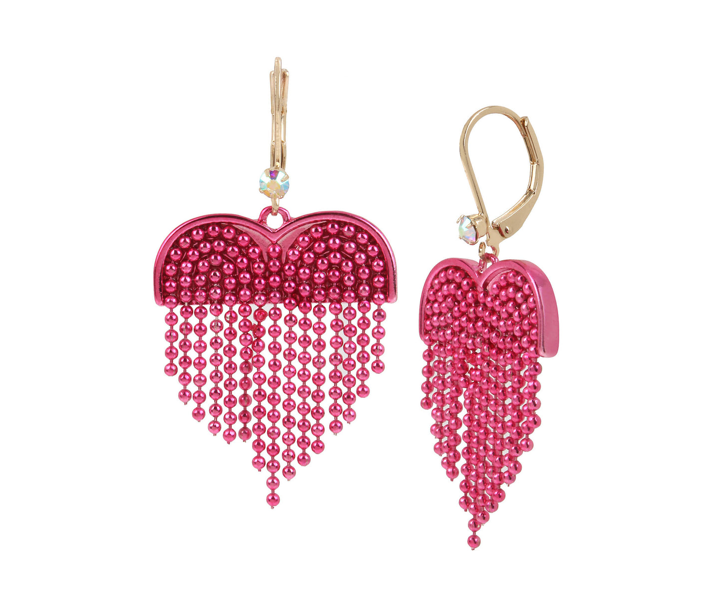 UNBREAK MY HEART FRINGE EARRINGS PINK MULTI - JEWELRY - Betsey Johnson
