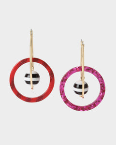 UNBREAK MY HEART HOOP EARRINGS PINK MULTI