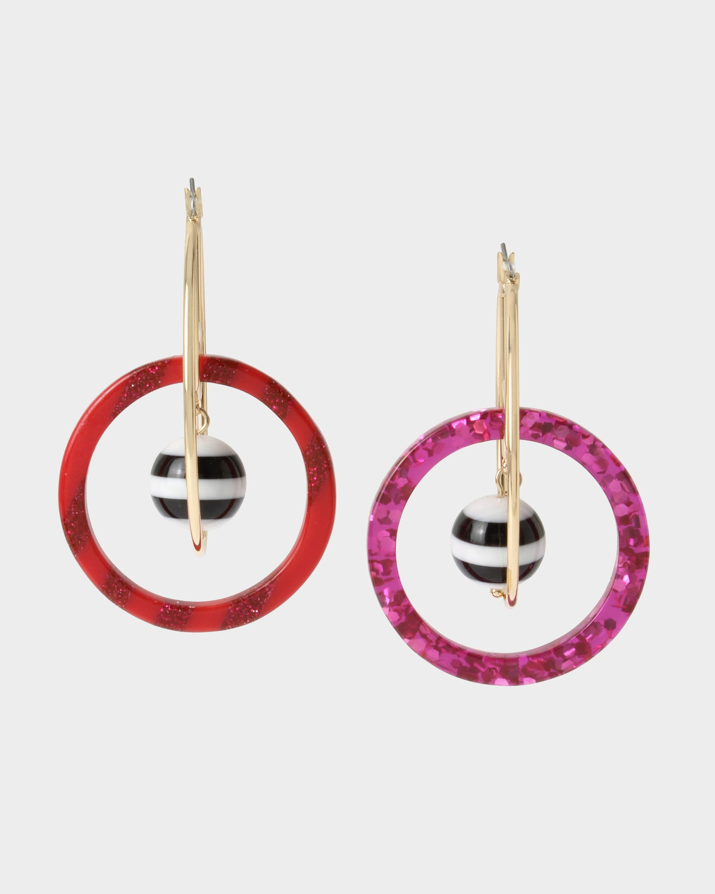 UNBREAK MY HEART HOOP EARRINGS PINK MULTI - JEWELRY - Betsey Johnson