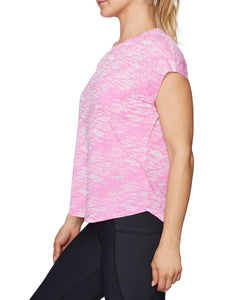 V-STITCHED CROP WEDGE TEE PINK