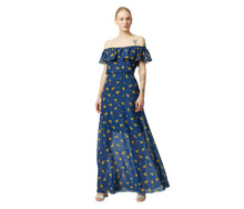VINTAGE MARIGOLD BUDS MAXI DRESS BLUE MULTI - APPAREL - Betsey Johnson