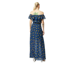 VINTAGE MARIGOLD BUDS MAXI DRESS BLUE MULTI