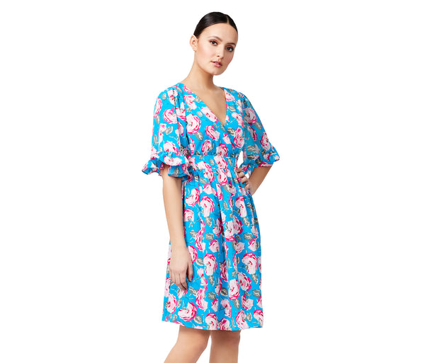 VINTAGE ROSE BELL SLEEVE DRESS BLUE MULTI - APPAREL - Betsey Johnson