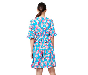 VINTAGE ROSE BELL SLEEVE DRESS BLUE MULTI