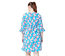 VINTAGE ROSE DRESS BLUE MULTI (EXTENDED SIZING) - APPAREL - Betsey Johnson