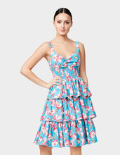 VINTAGE ROSE TIERED DRESS BLUE MULTI - APPAREL - Betsey Johnson