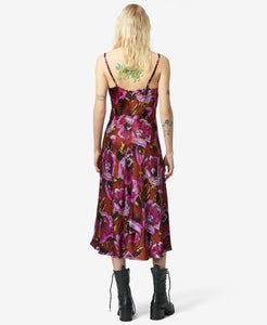 BJ VINTAGE BURNOUT FLORAL MIDI DRESS MULTI