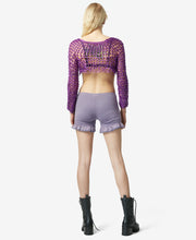 BJ VINTAGE MESH CROP TOP PURPLE - VINTAGE - Betsey Johnson