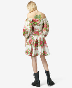 BJ VINTAGE FLORAL BLOUSANT DRESS MULTI