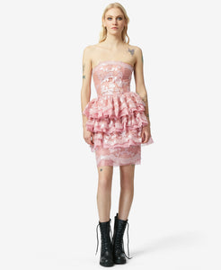 BJ VINTAGE RUFFLES GALORE DRESS PINK