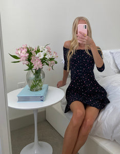 BETSEYS VINTAGE INSPIRED BABYDOLL DRESS FLORAL
