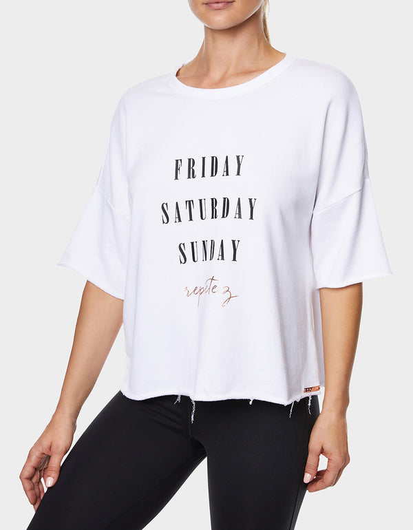 WEEKEND REPETEZ BOXY TEE WHITE - APPAREL - Betsey Johnson