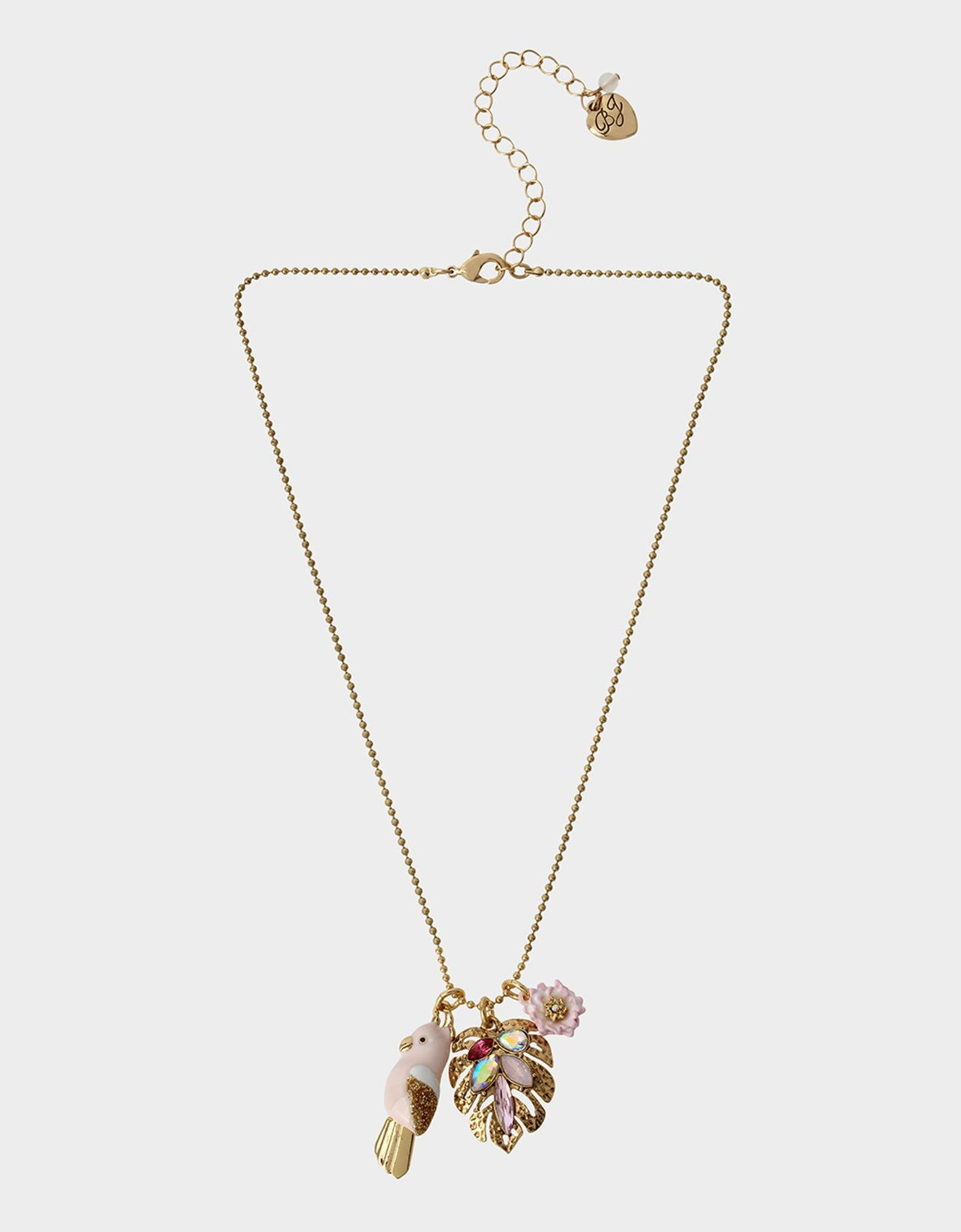 WELCOME TO THE JUNGLE CHARMY NECKLACE PINK - JEWELRY - Betsey Johnson