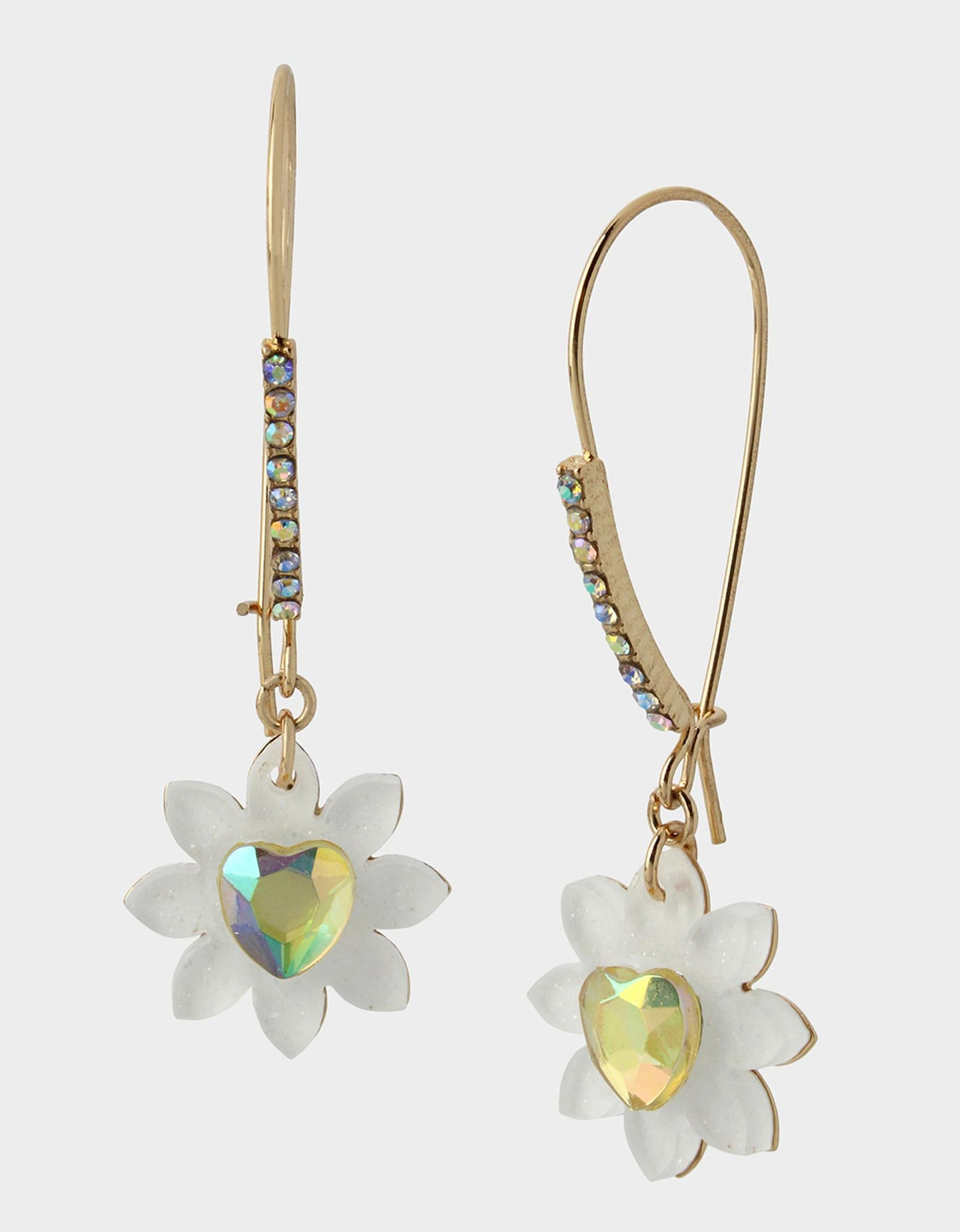 WELCOME TO THE JUNGLE FLOWER HOOK EARRINGS WHITE - JEWELRY - Betsey Johnson