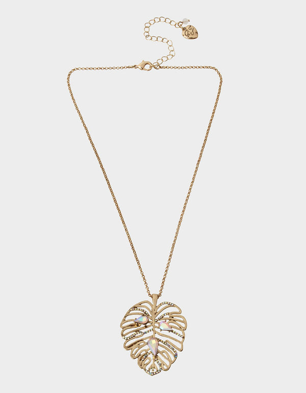 WELCOME TO THE JUNGLE LEAF PENDANT PINK - JEWELRY - Betsey Johnson