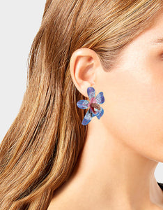 WELCOME TO THE JUNGLE ORCHID LARGE EARRINGS BLUE