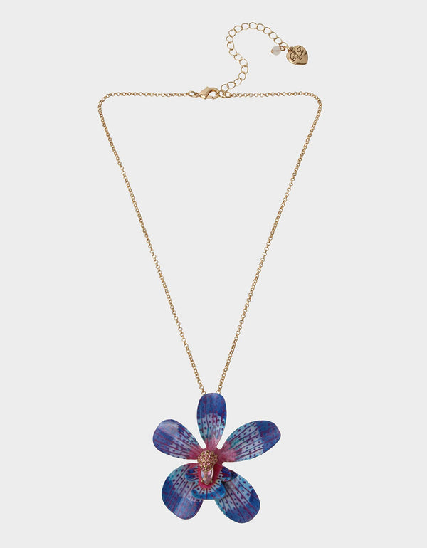 WELCOME TO THE JUNGLE ORCHID PENDANT BLUE - JEWELRY - Betsey Johnson