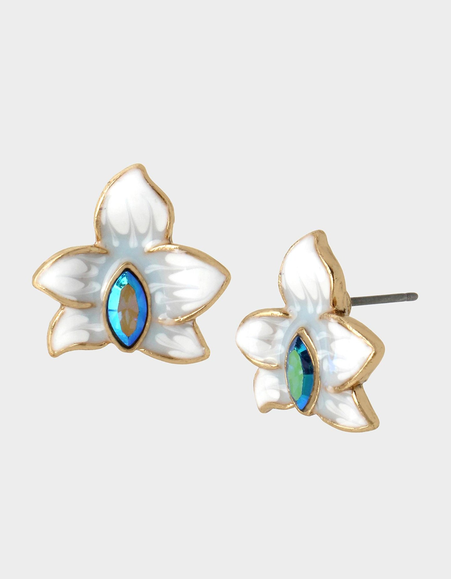 WELCOME TO THE JUNGLE ORCHID STUDS BLUE - JEWELRY - Betsey Johnson