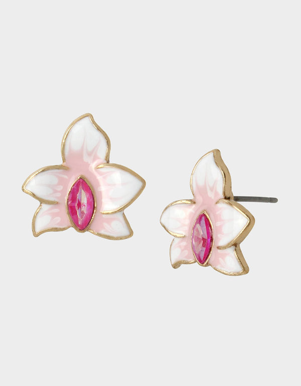 WELCOME TO THE JUNGLE ORCHID STUDS PINK - JEWELRY - Betsey Johnson