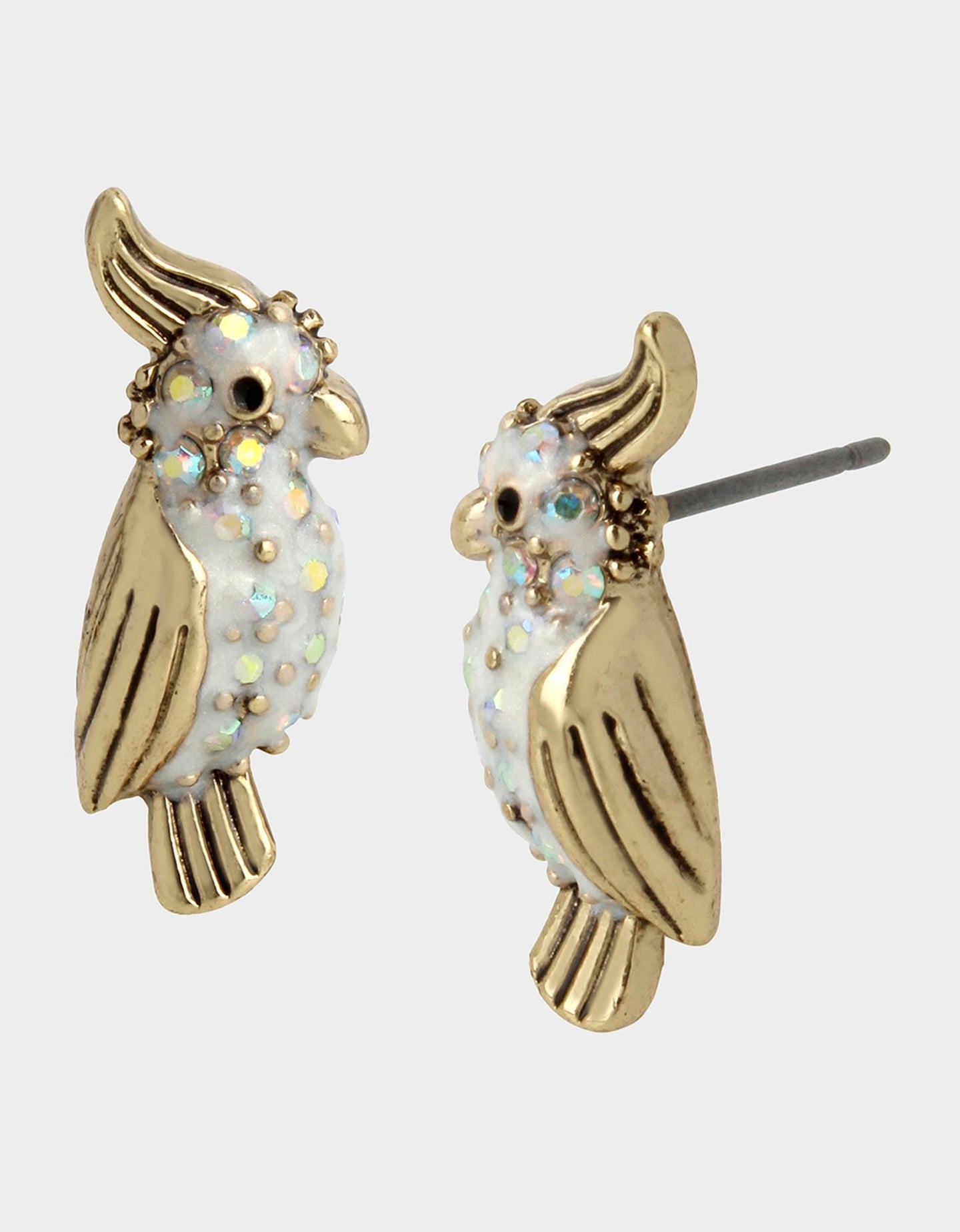WELCOME TO THE JUNGLE PARROT STUDS WHITE - JEWELRY - Betsey Johnson