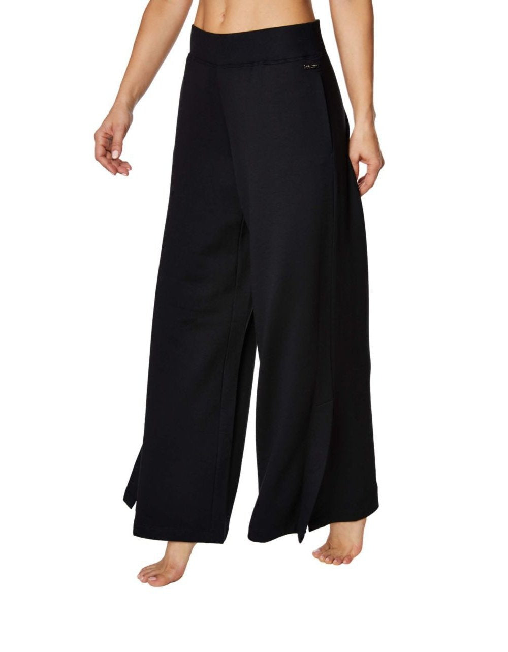 WIDE LEG PANT WITH SIDE SLITS BLACK - APPAREL - Betsey Johnson
