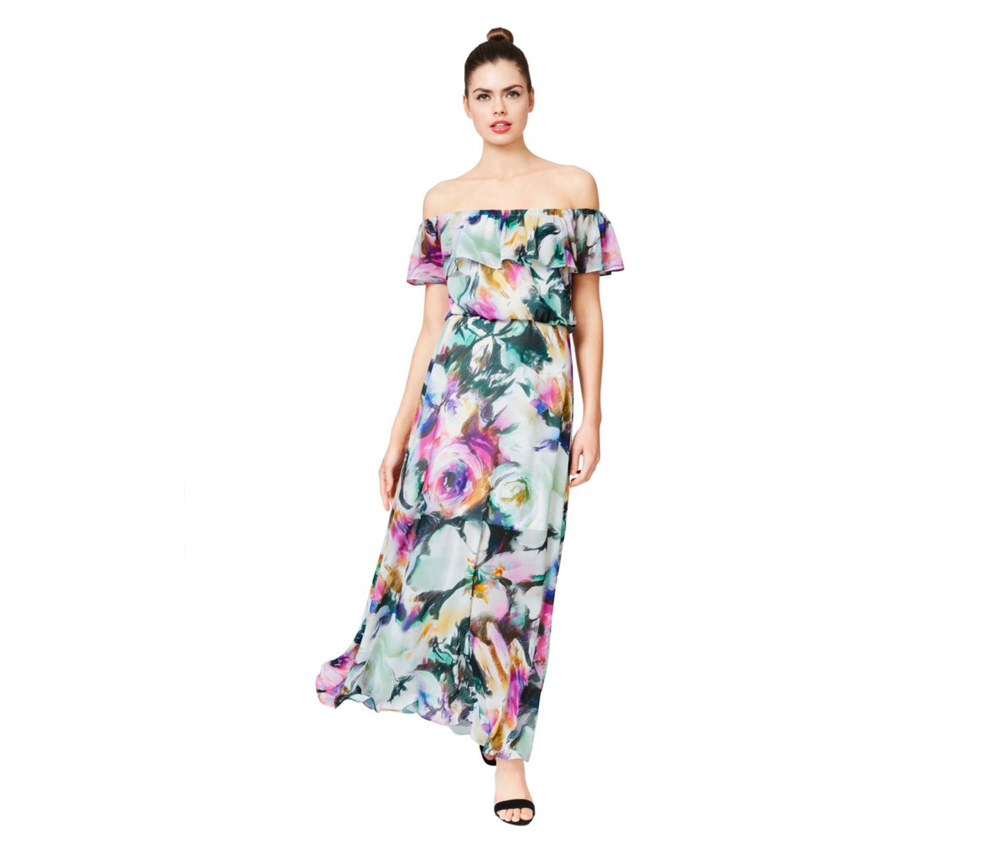 WISPY FLORAL STRAPLESS RUFFLE MAXI DRESS MULTI - APPAREL - Betsey Johnson