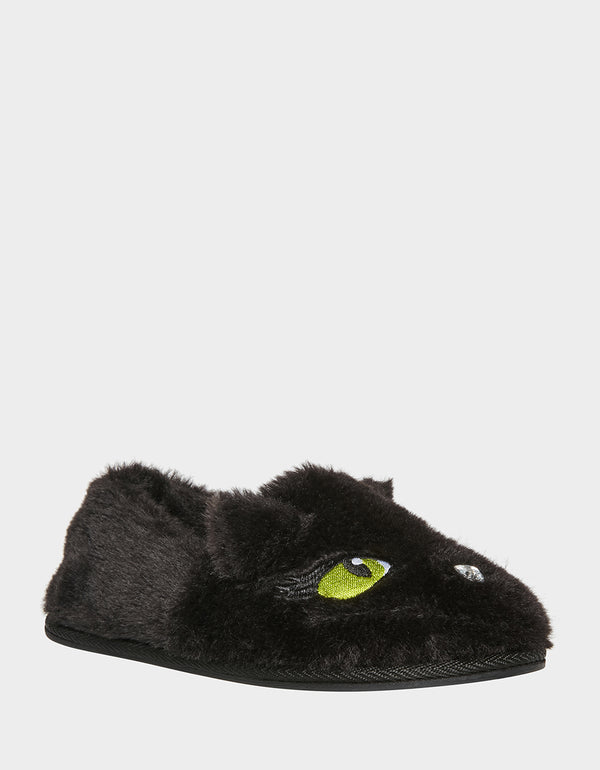 PURRFECTLY COZY KITTY SLIPPERS BLACK - SHOES - Betsey Johnson