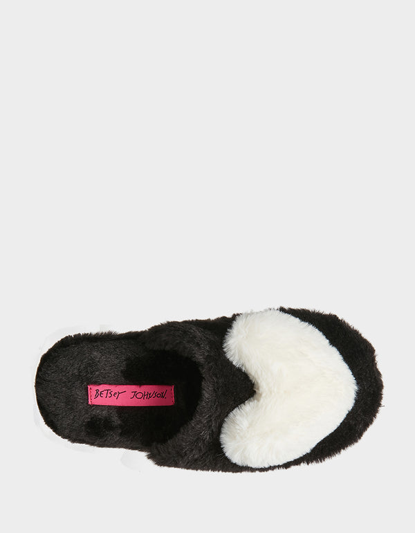 COZY AT HEART BLACK-WHITE SLIPPERS BLACK-WHITE - SHOES - Betsey Johnson