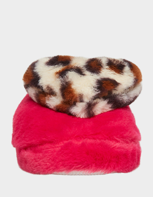 COZY AT HEART PINK-LEOPARD SLIPPERS PINK MULTI - SHOES - Betsey Johnson