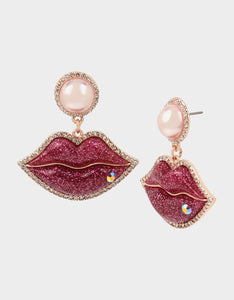 XOX BETSEY BIG KISS EARRINGS PINK