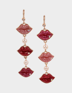 XOX BETSEY LOVE LIPS EARRINGS PINK