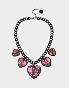 XOX GLITTER HEARTS NECKLACE FUCHSIA