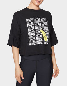 YELLOW BANANA RAW EDGE TEE BLACK