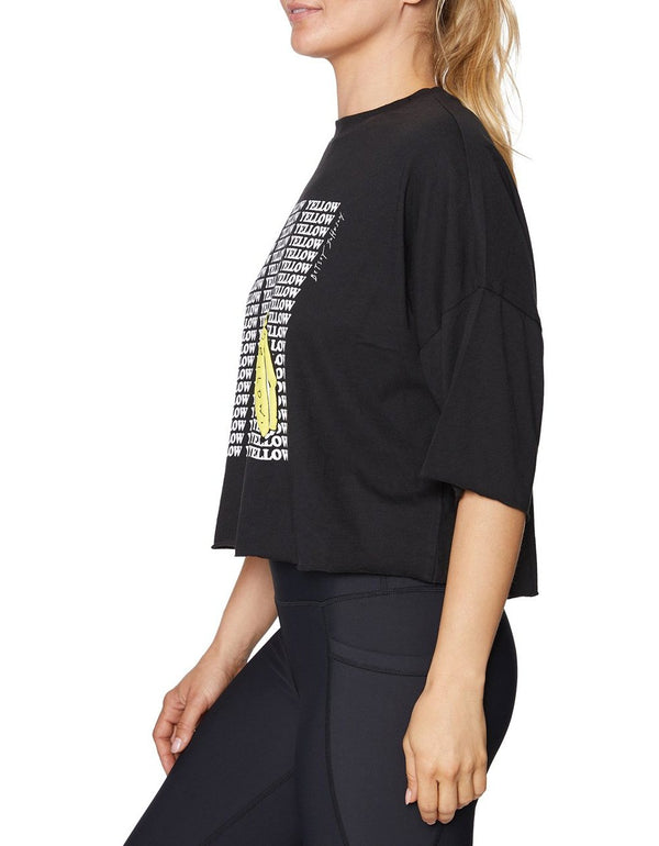 YELLOW BANANA RAW EDGE TEE BLACK - APPAREL - Betsey Johnson