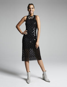 DARING DOTS MIDI DRESS BLACK