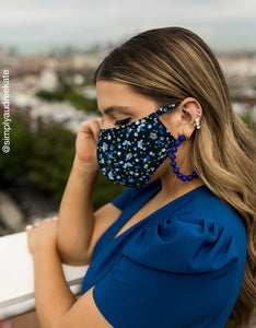 PRINTED FASHION FACE MASK SET BLUE MULTI