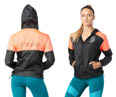 STRONG by Zumba Squat Sync Sweat Windbreaker Jacket - Bold Black Z1T01567 2XL