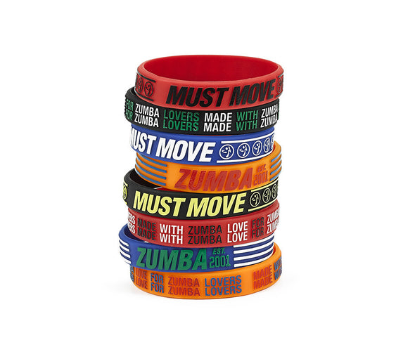 Zumba Must Move Rubber Bracelets 8pk - A0A01111