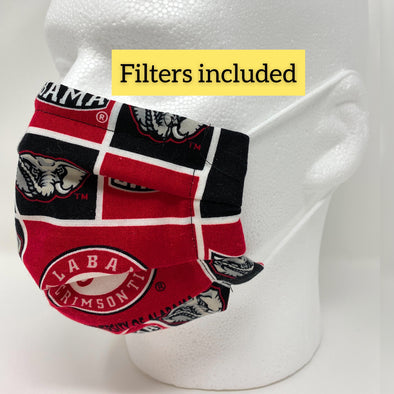 Alabama Crimson Tide Face Mask Nose Wire Filter Pocket Pleated - Filter Included