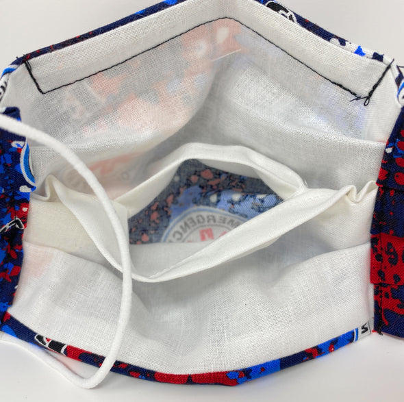 EMS Face Mask Pleated with Nose Wire Filter Pocket US made - Filters Included
