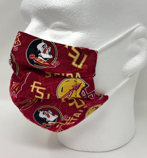 FSU Seminoles Face Mask - Pleated with Nose Wire Filter Pocket US made