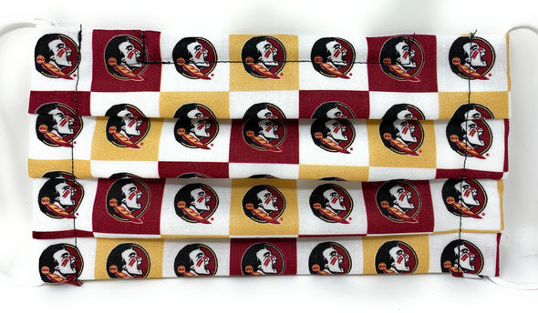 FSU Seminoles Face Mask - Pleated with Nose Wire Filter Pocket - Filters Included
