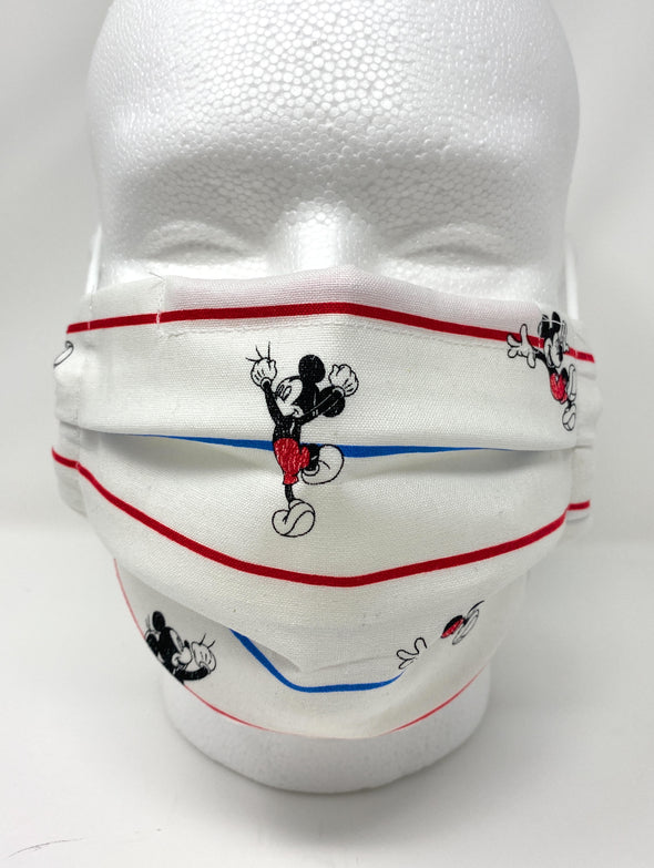 Mickey Face Mask - Pleated with Nose Wire Filter Pocket - Filters Included