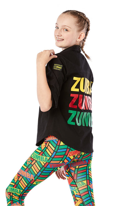 Zumba ZW Juniors For All Button Up Shirt - Bold Black J1T00016 (Youth)