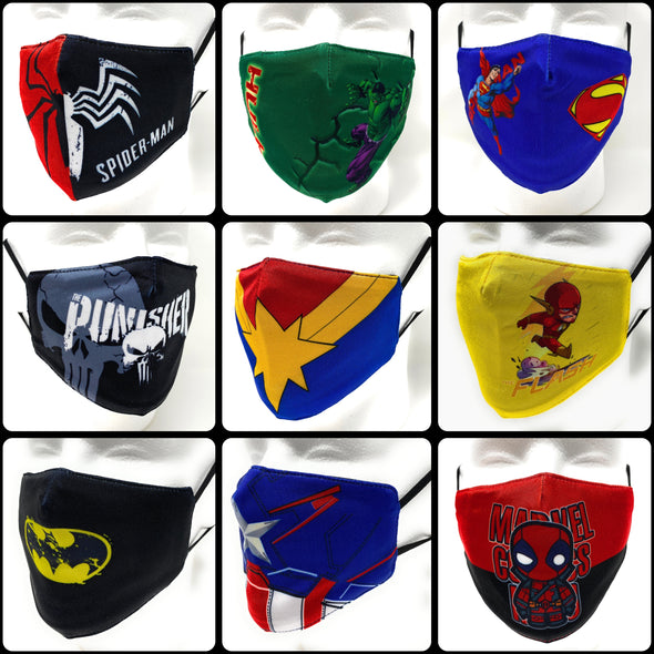 Heroes Kids Face Mask - Filter Pocket - Adjustable Elastic - 3D Design